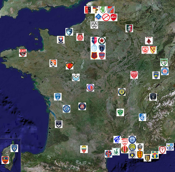 Ligue 1 Carte de France des clubs 1932-2018