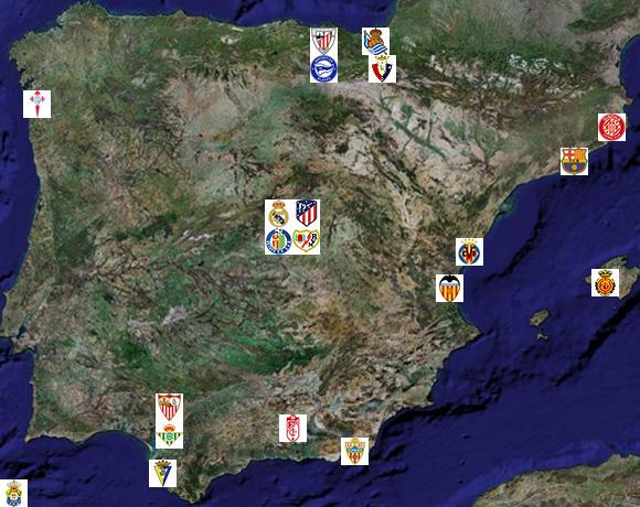 liga liste et localisation des 20 clubs de primera division espagnole. Black Bedroom Furniture Sets. Home Design Ideas